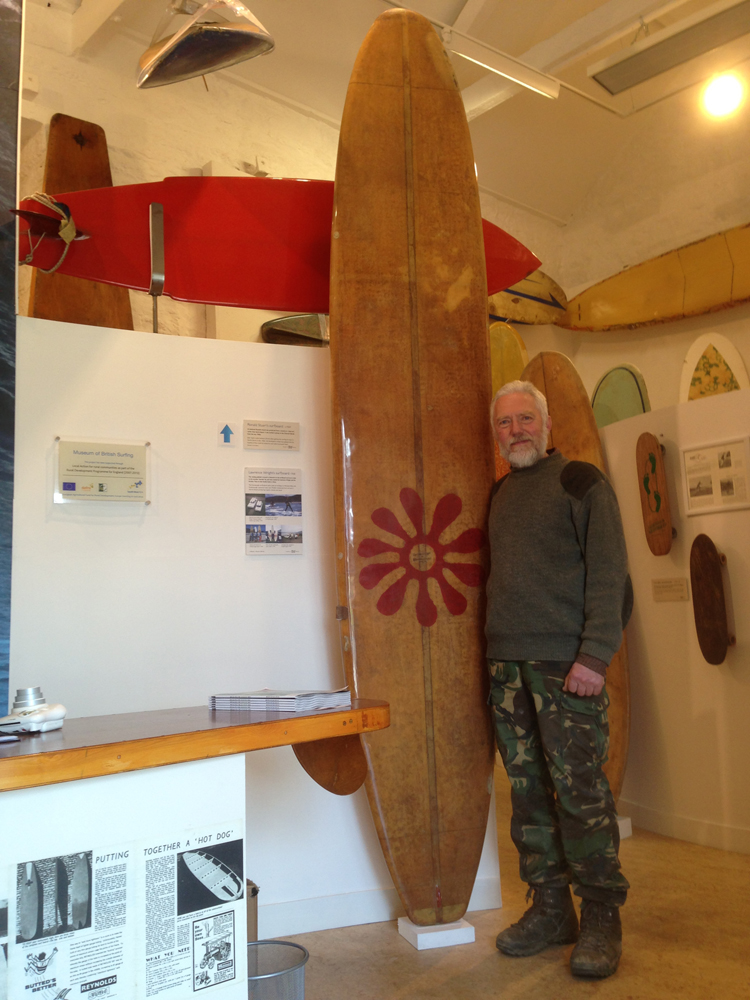 Lawrence Wright and his 1968 surfboard